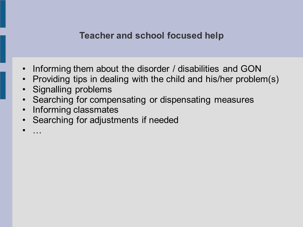 Teacher and school focused help