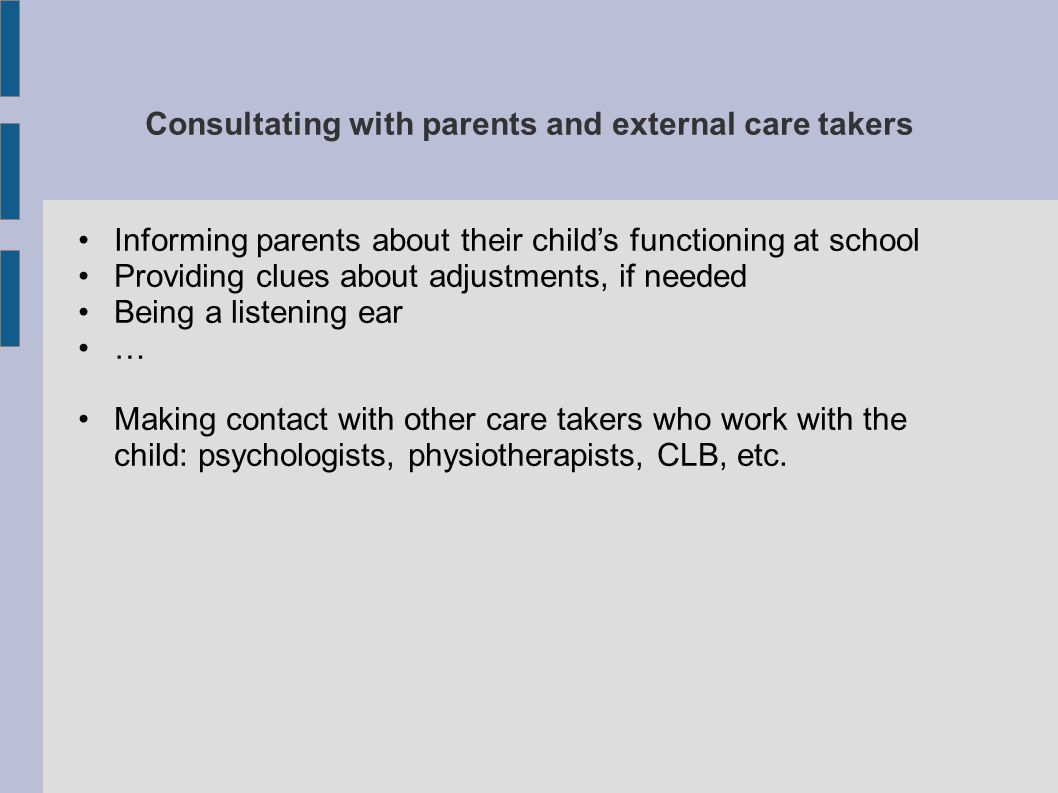 Consultating with parents and external care takers