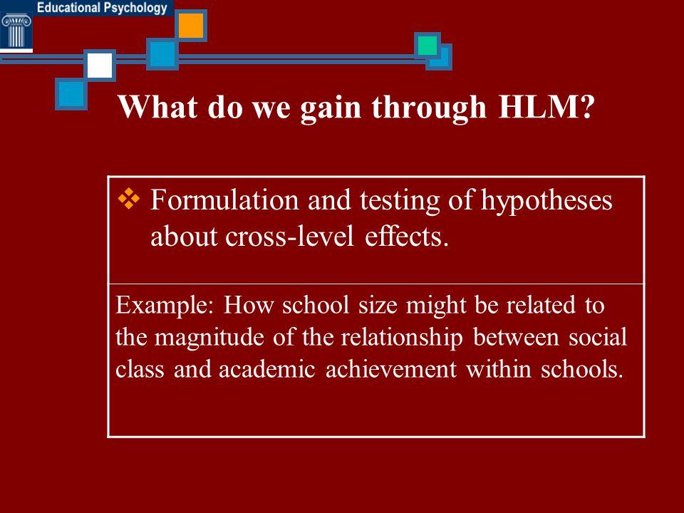 What do we gain through HLM