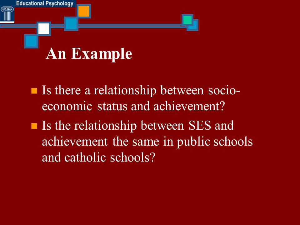 An Example Is there a relationship between socio-economic status and achievement