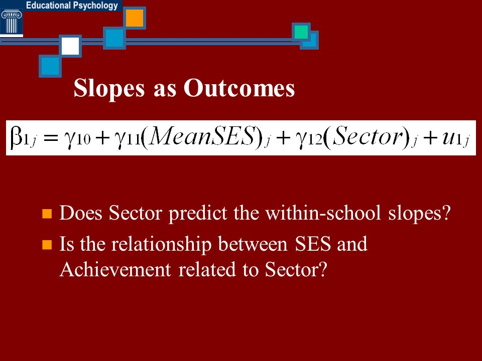 Slopes as Outcomes Does Sector predict the within-school slopes