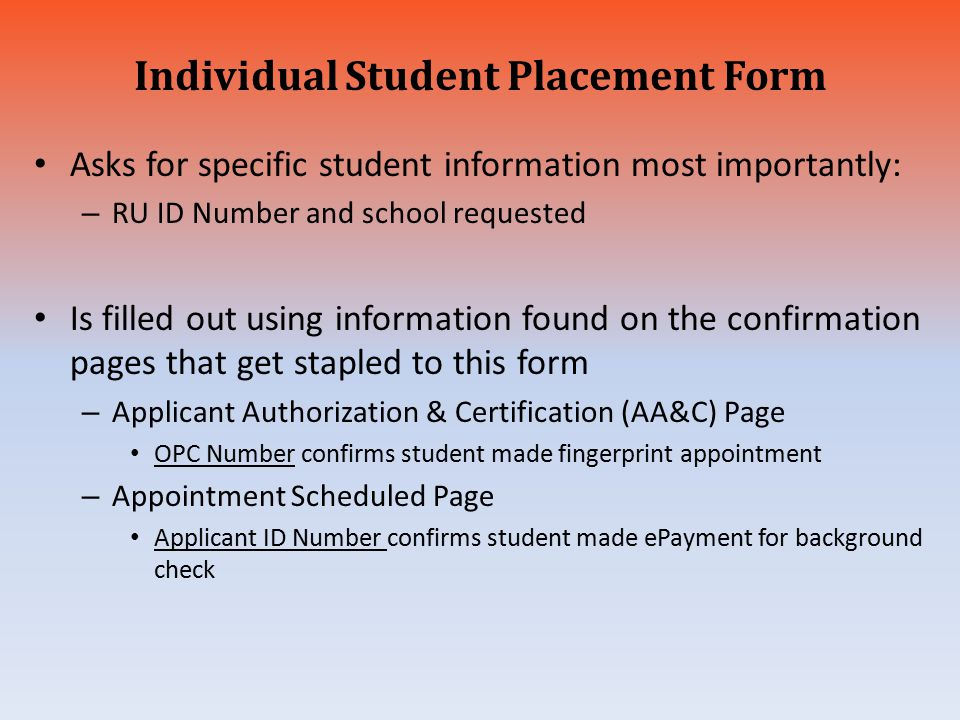 Individual Student Placement Form