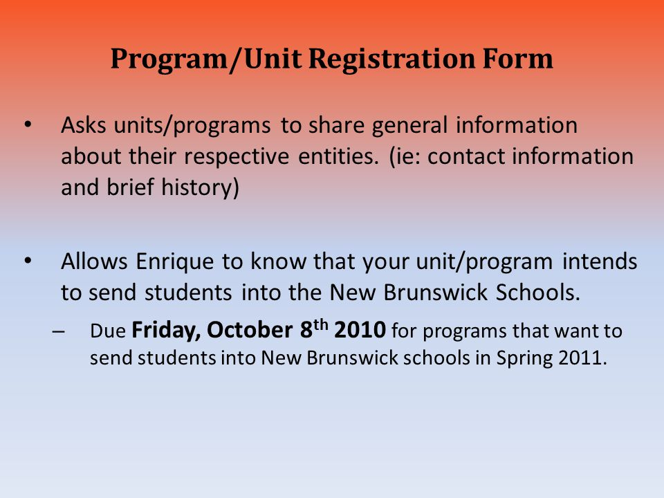 Program/Unit Registration Form