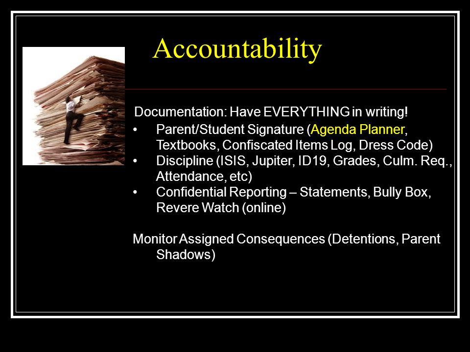 Accountability Documentation: Have EVERYTHING in writing!