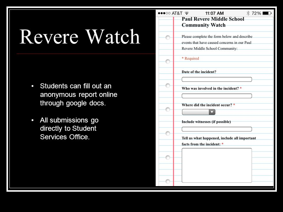 Revere Watch Students can fill out an anonymous report online through google docs.