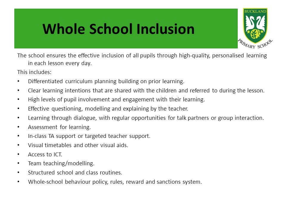 Whole School Inclusion