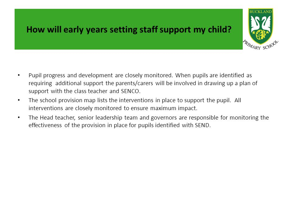 How will early years setting staff support my child