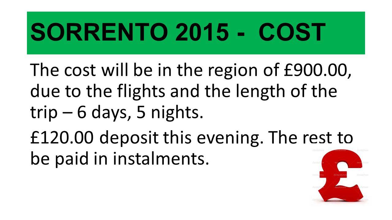 SORRENTO 2015 - COST