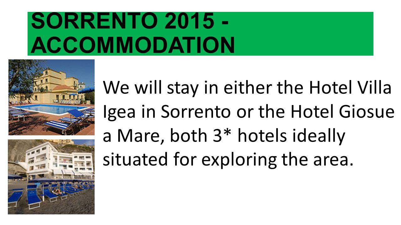 SORRENTO 2015 - ACCOMMODATION