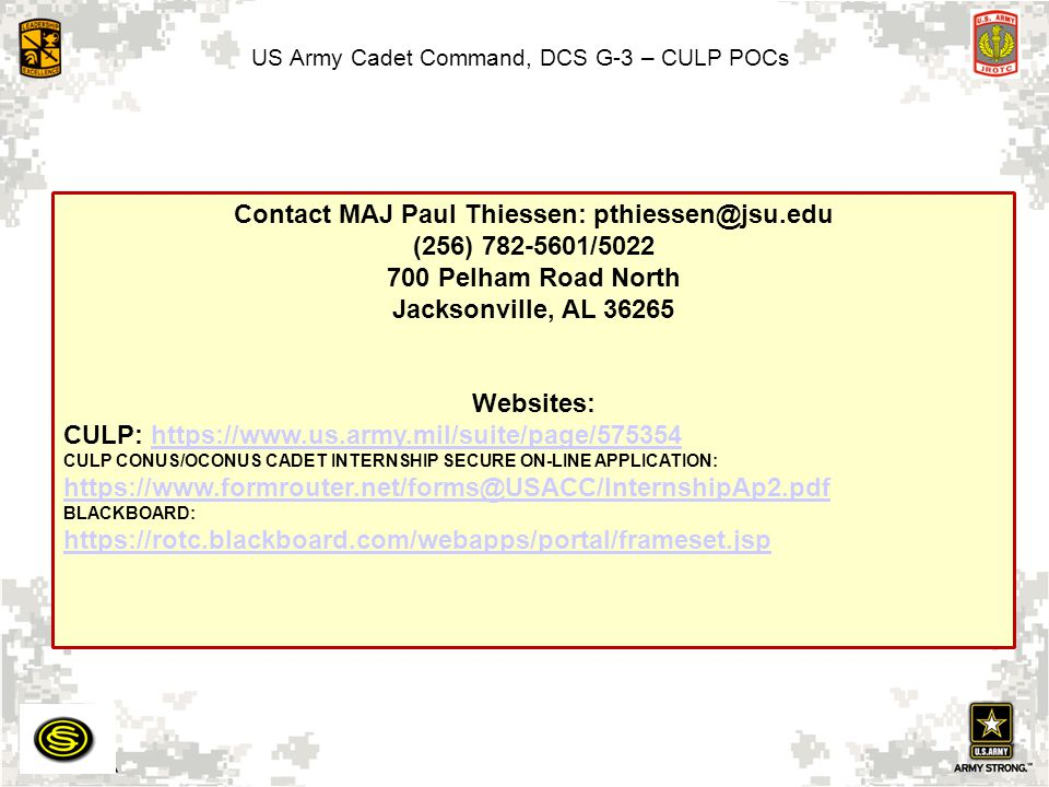 US Army Cadet Command, DCS G-3 – CULP POCs