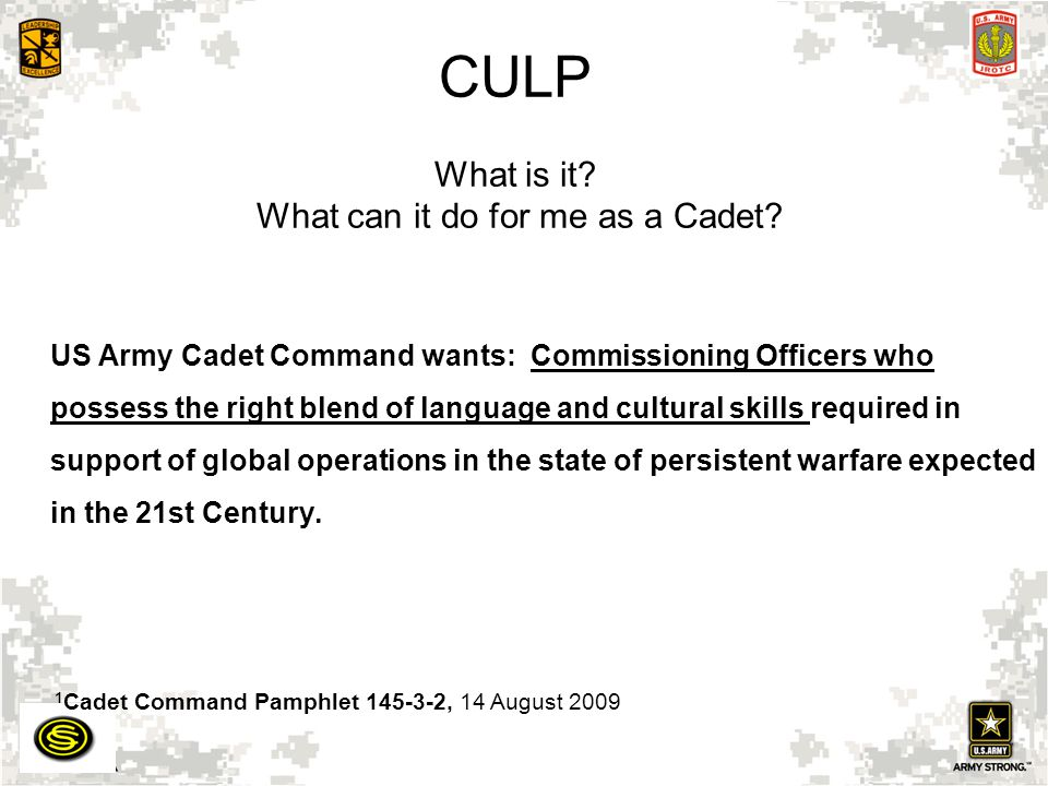 CULP What is it What can it do for me as a Cadet