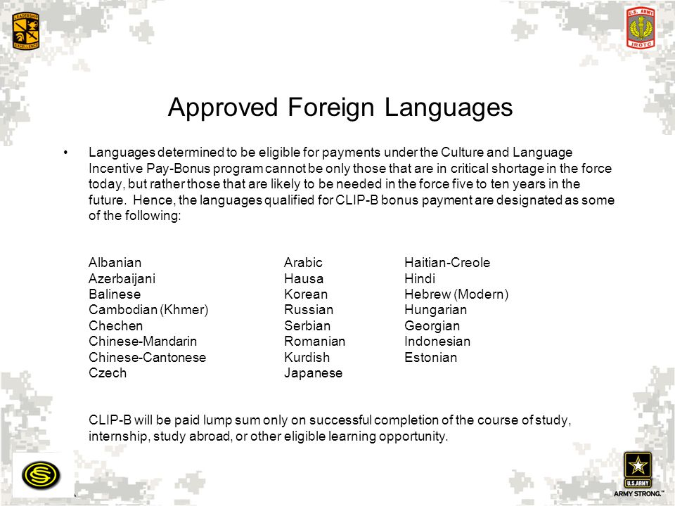 Approved Foreign Languages