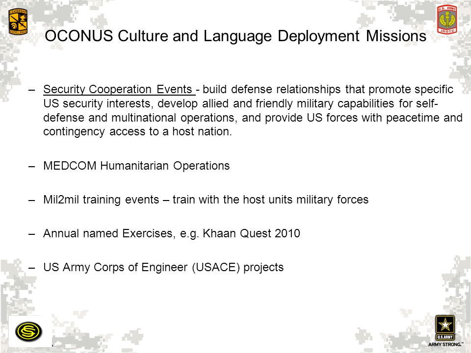 OCONUS Culture and Language Deployment Missions