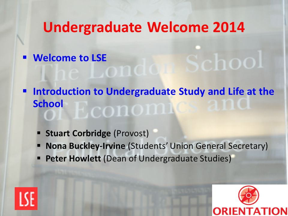 Undergraduate Welcome 2014