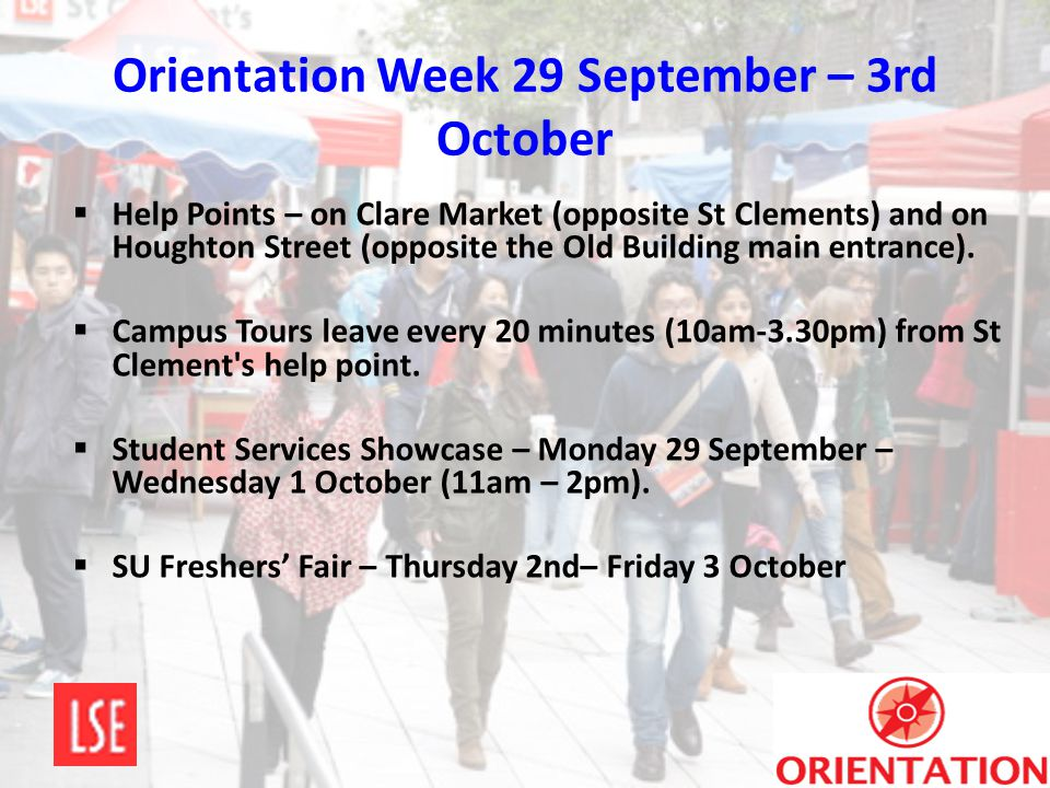 Orientation Week 29 September – 3rd October