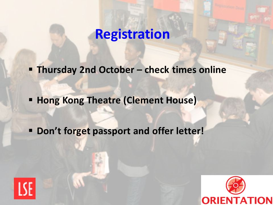 Registration Thursday 2nd October – check times online