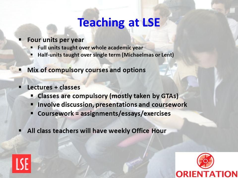 Teaching at LSE Four units per year