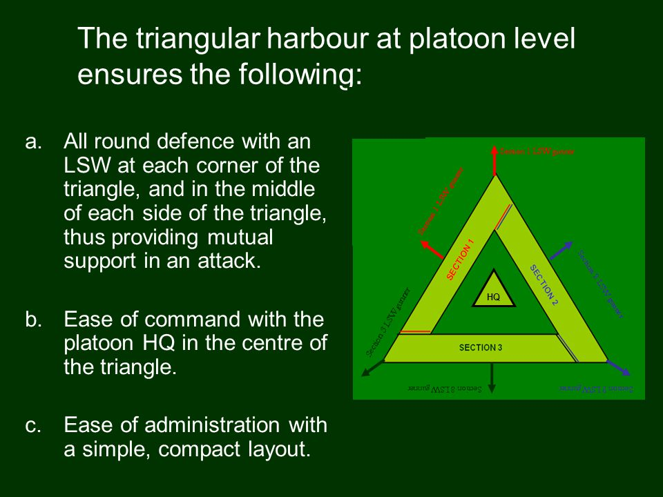 The triangular harbour at platoon level ensures the following:
