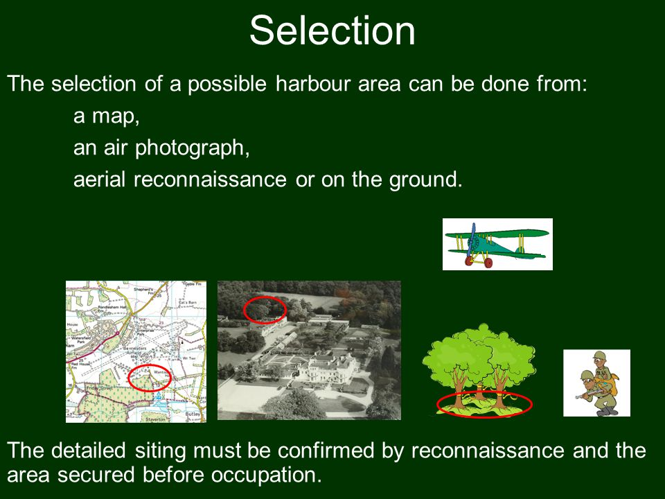 Selection The selection of a possible harbour area can be done from: