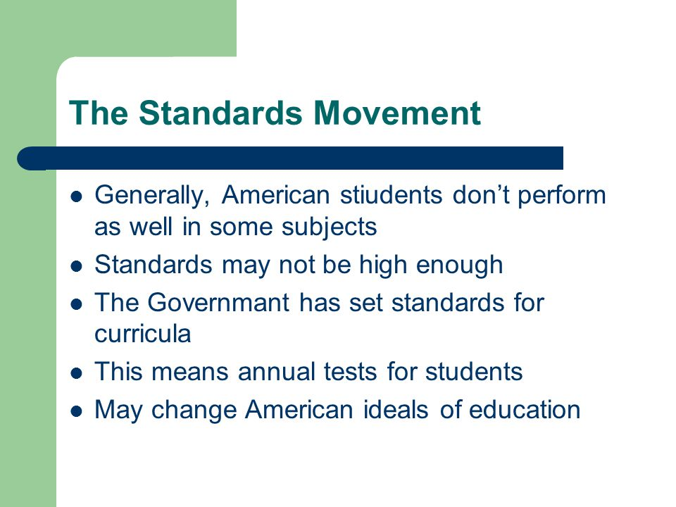 The Standards Movement