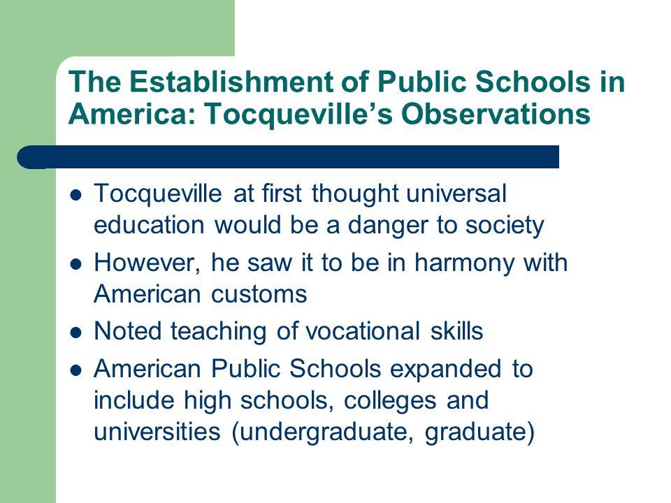 The Establishment of Public Schools in America: Tocqueville's Observations