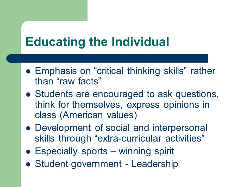 Educating the Individual