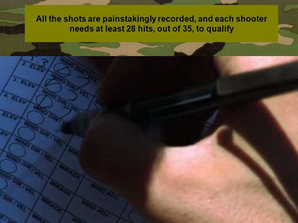All the shots are painstakingly recorded, and each shooter needs at least 28 hits, out of 35, to qualify