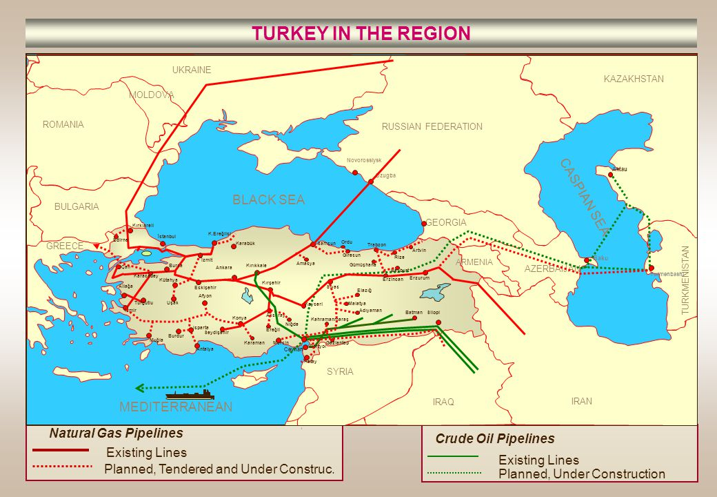 TURKEY IN THE REGION CASPIAN SEA BLACK SEA MEDITERRANEAN
