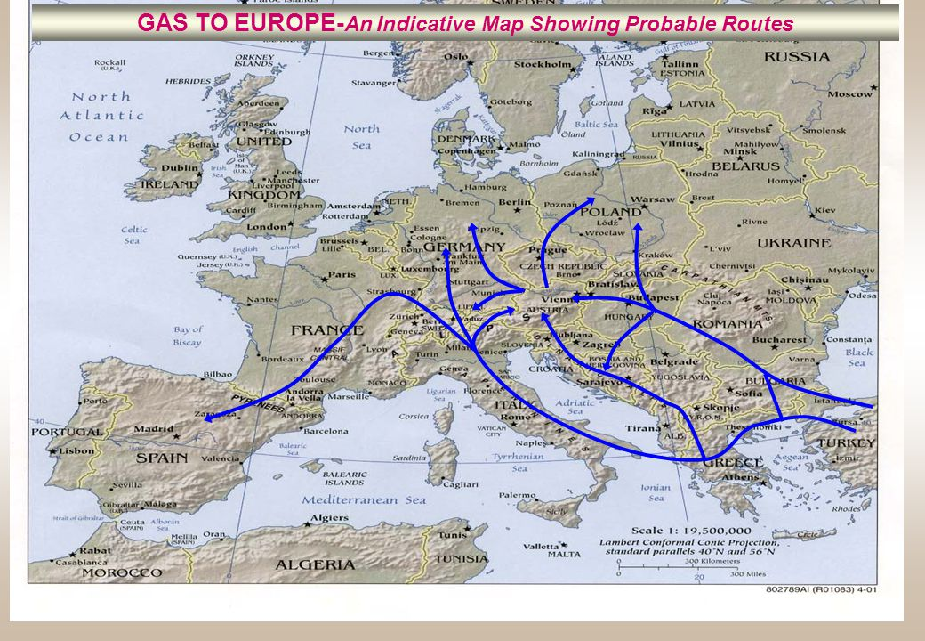 GAS TO EUROPE-An Indicative Map Showing Probable Routes