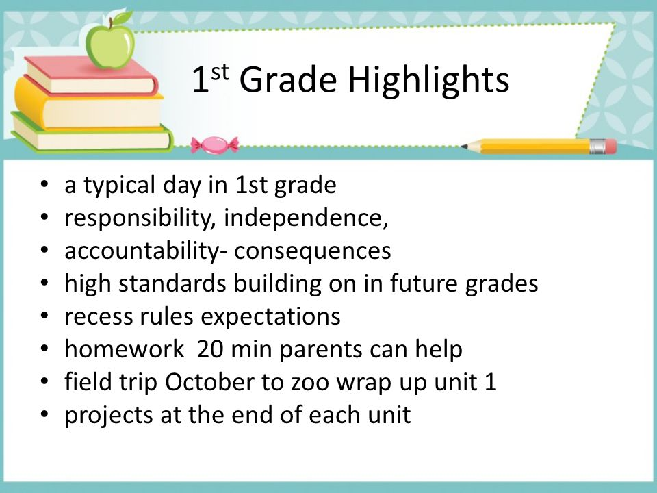 1st Grade Highlights a typical day in 1st grade