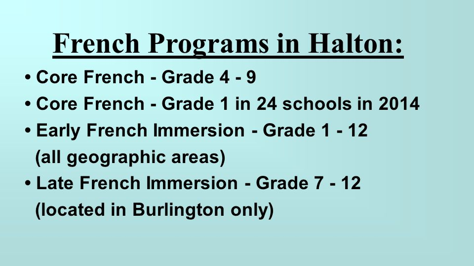 French Programs in Halton:
