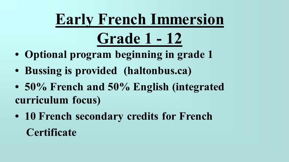 Early French Immersion