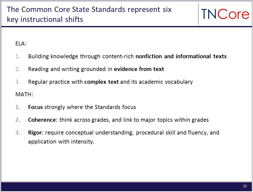The Common Core State Standards represent six key instructional shifts