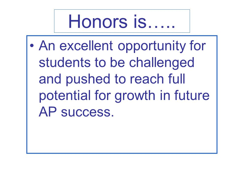 Honors is…..