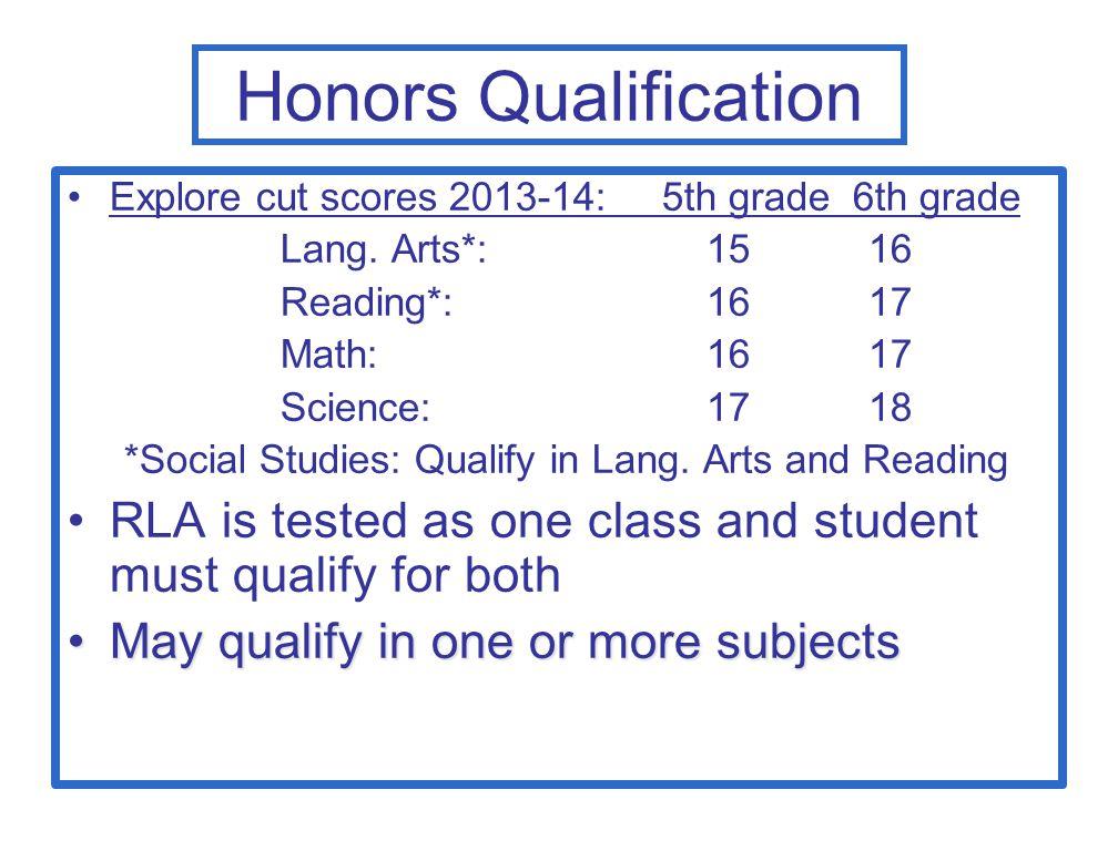 Honors Qualification Explore cut scores 2013-14: 5th grade 6th grade. Lang. Arts*: 15 16.