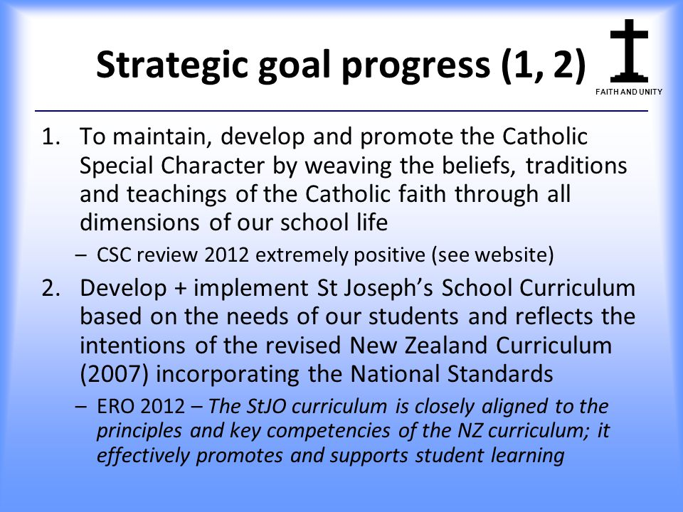 Strategic goal progress (1, 2)