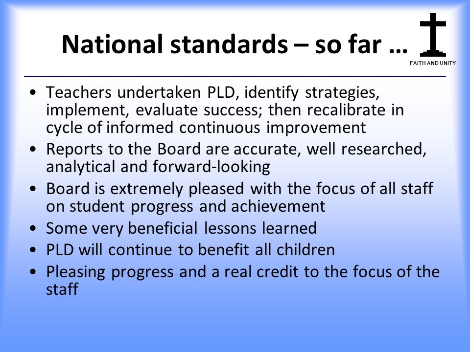National standards – so far …