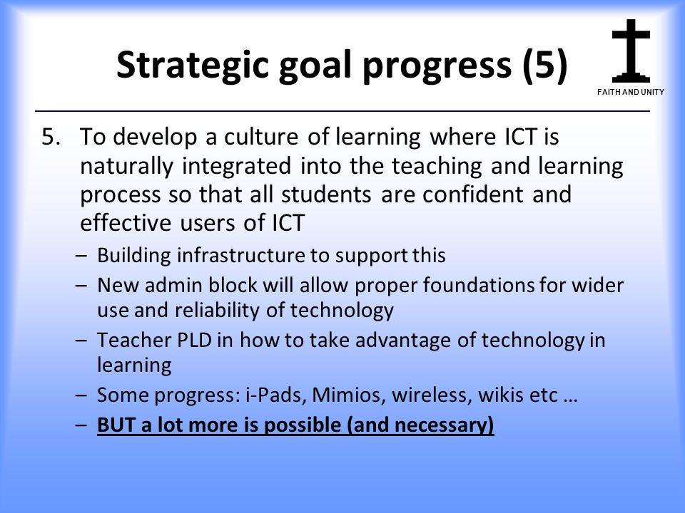 Strategic goal progress (5)