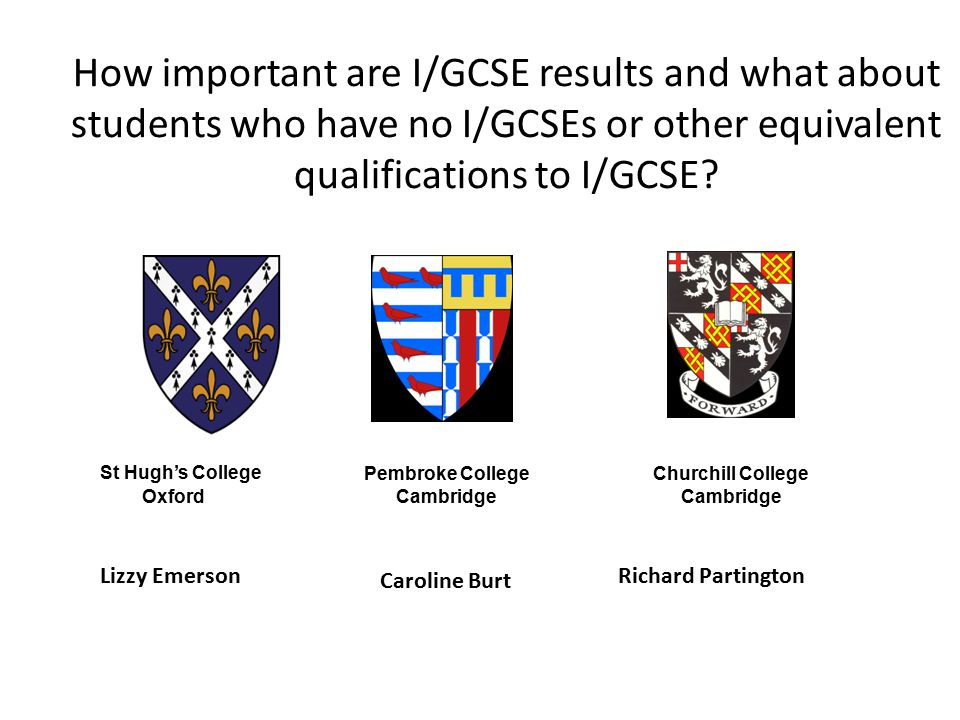 How important are I/GCSE results and what about students who have no I/GCSEs or other equivalent qualifications to I/GCSE