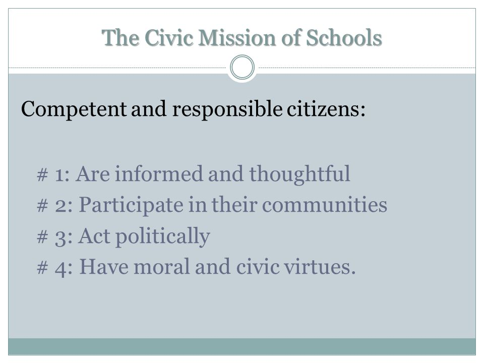 The Civic Mission of Schools