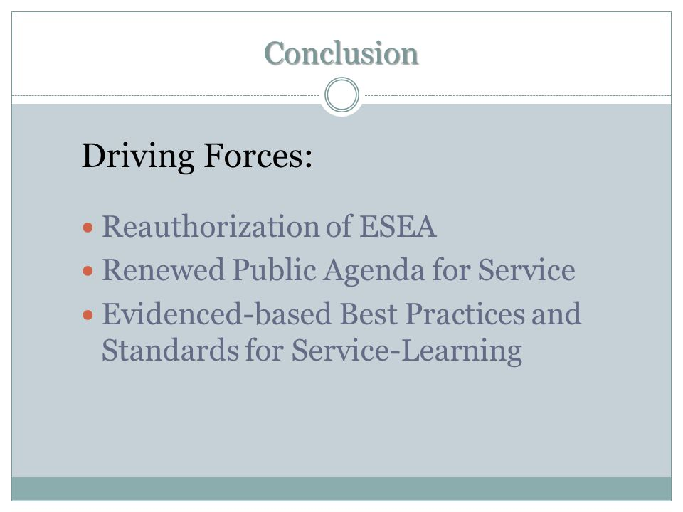 Driving Forces: Conclusion Reauthorization of ESEA