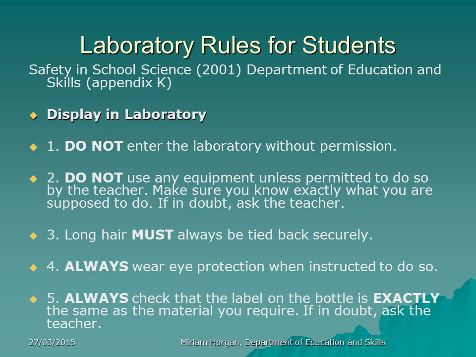 Laboratory Rules for Students