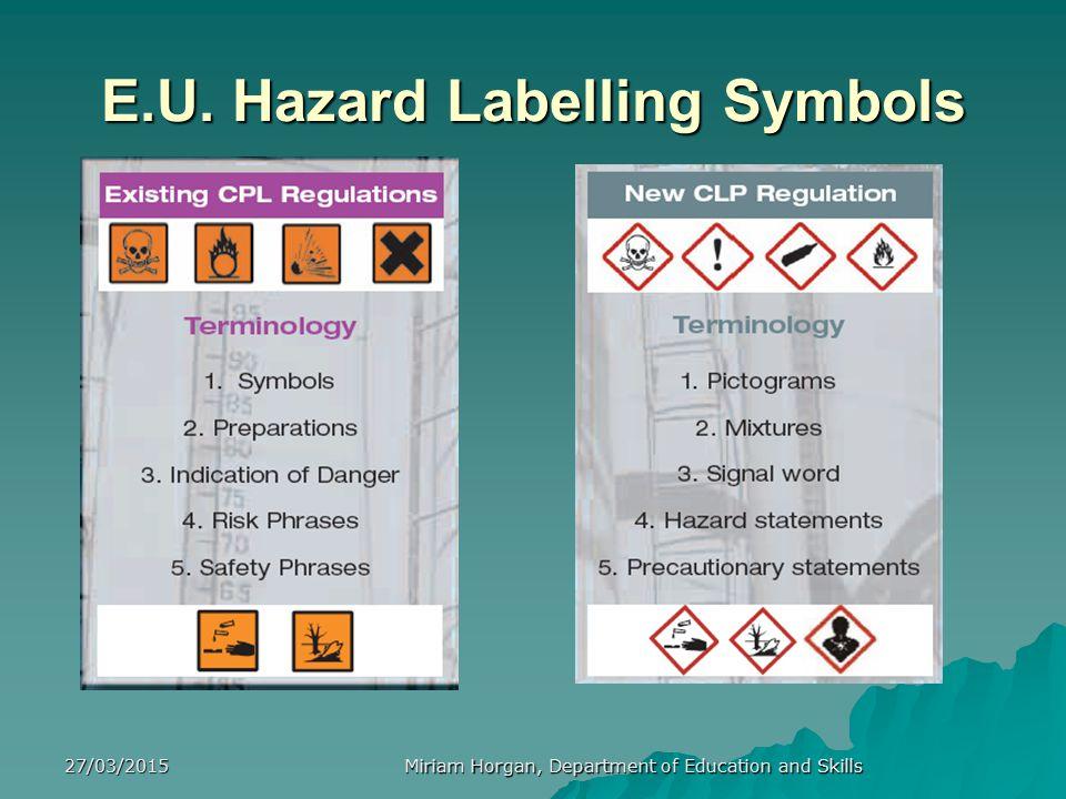 E.U. Hazard Labelling Symbols