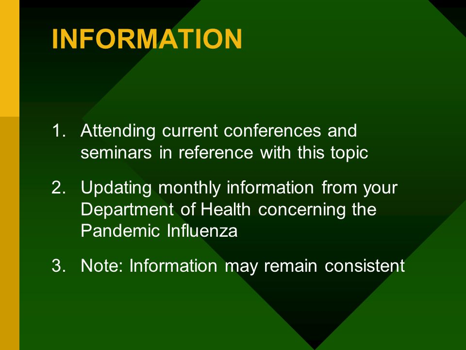 INFORMATION Attending current conferences and seminars in reference with this topic.