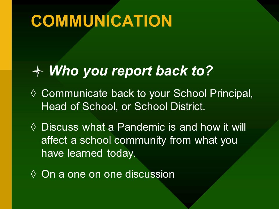 COMMUNICATION Who you report back to