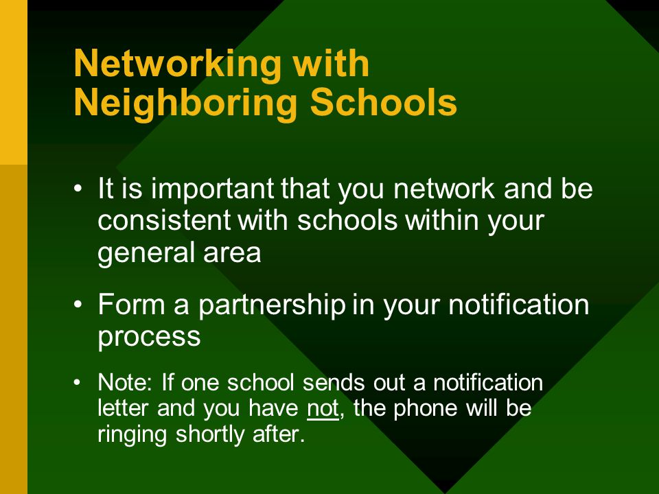 Networking with Neighboring Schools