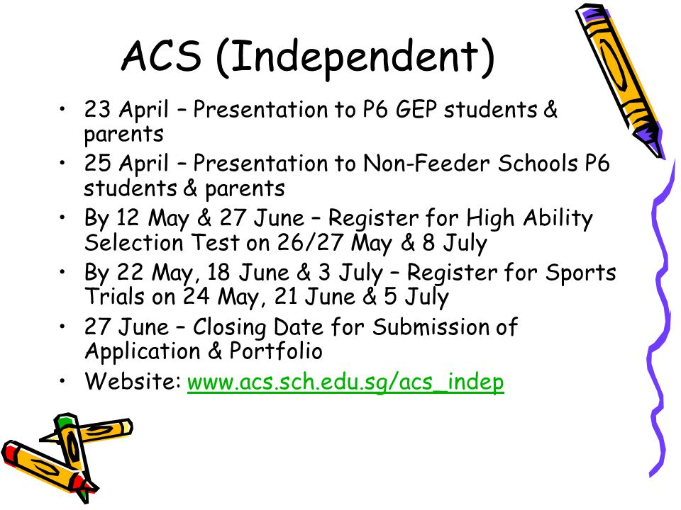 ACS (Independent) 23 April – Presentation to P6 GEP students & parents