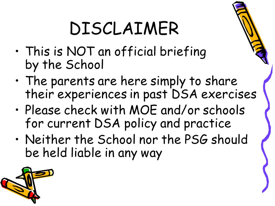 DISCLAIMER This is NOT an official briefing by the School