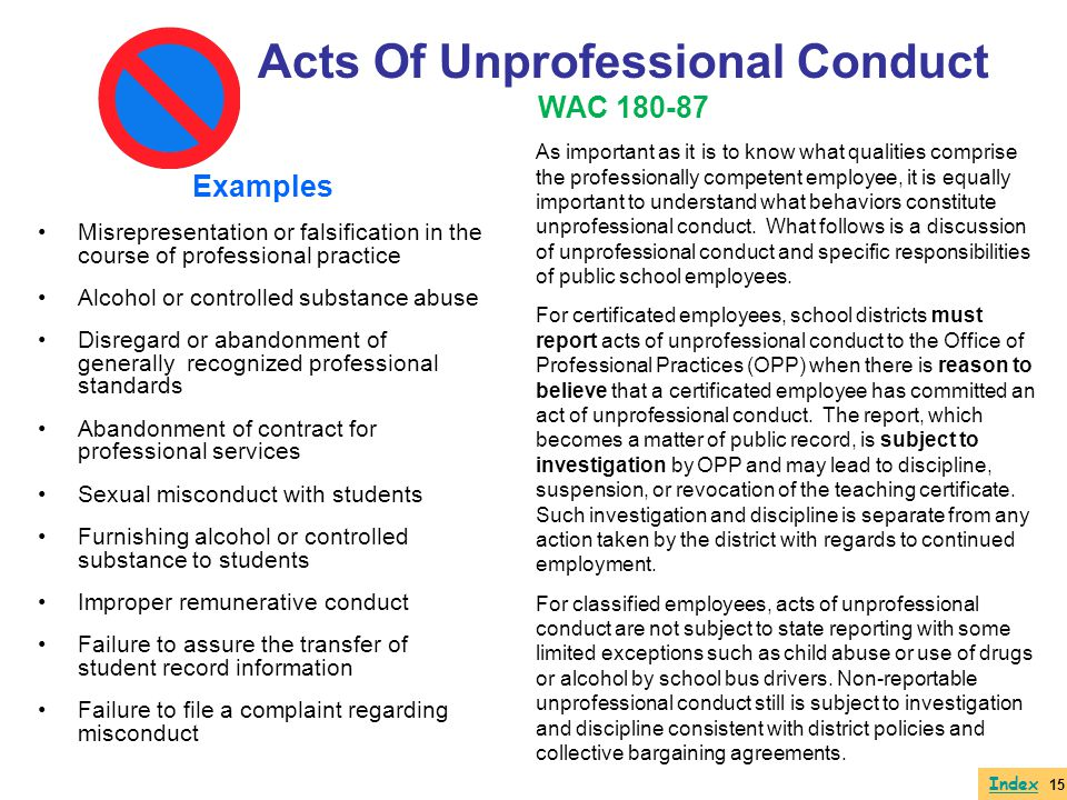 Acts Of Unprofessional Conduct WAC 180-87