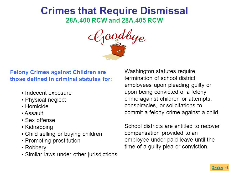 Crimes that Require Dismissal 28A.400 RCW and 28A.405 RCW